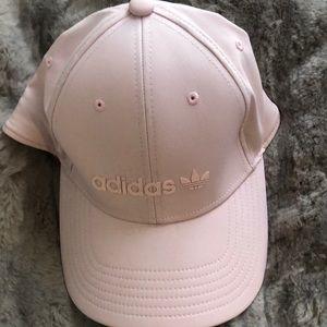 Adidas light pink snap back hat